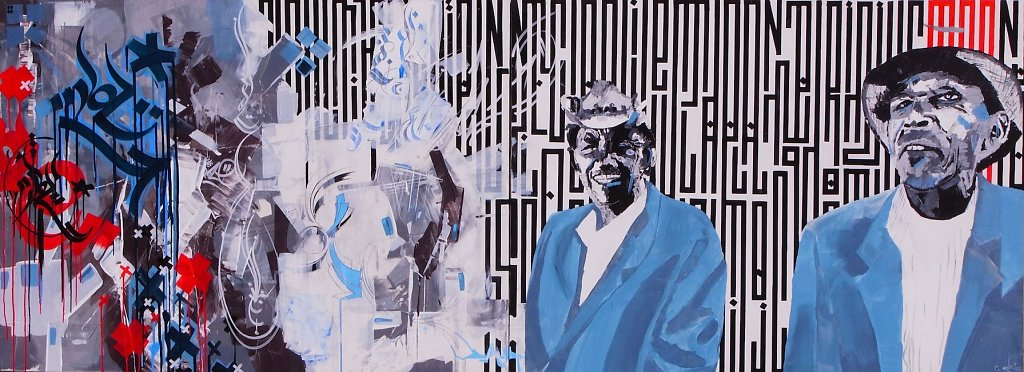 Double trouble - acrylic and ink on canvas ( dytique ) 120x300 cm-SOLD OUT-