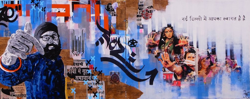 Slumgods - acrylic, collage and ink on canvas ( dyptique )120x 300 cm -SOLD-