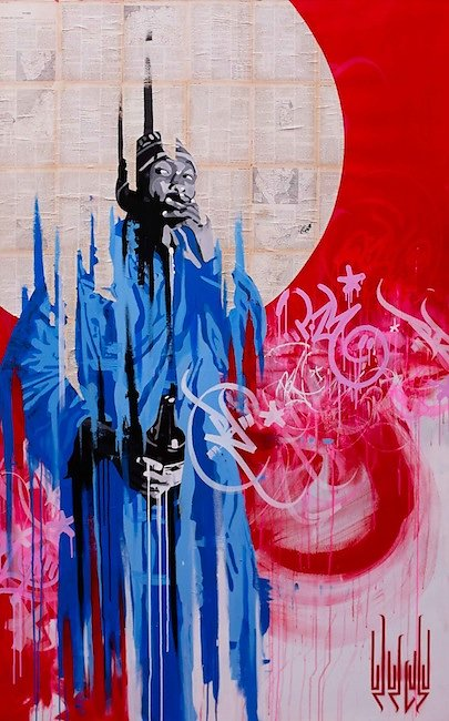 No name - collage, acrylic and ink on canvas : 200x120 cm-