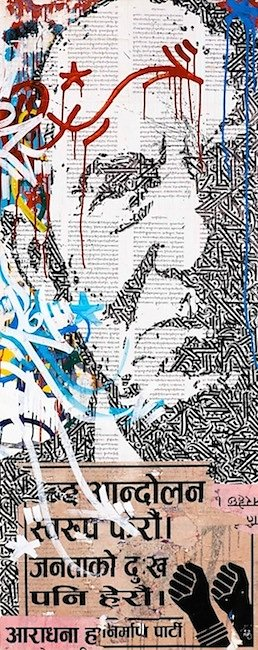 Indignez-vous! collage, acrylic and ink on canvas 150 X 60 cm-SOLD OUT-