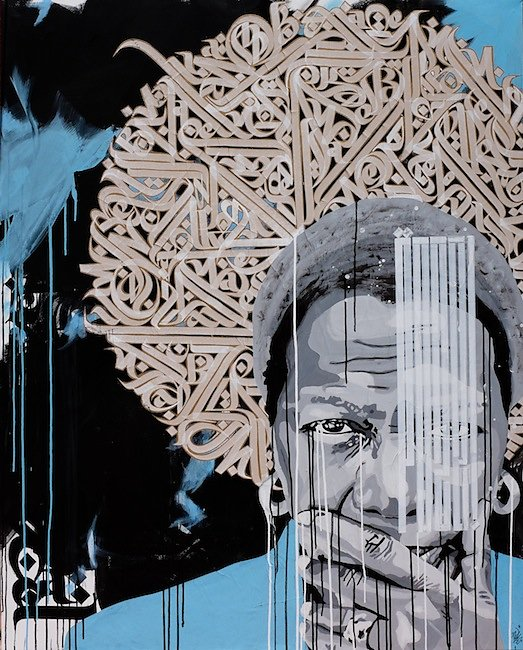 """""""Justice, knowledge, freedom"""":acrylic, collage and ink on canvas: 150X120 cm-SOLD OUT-"""