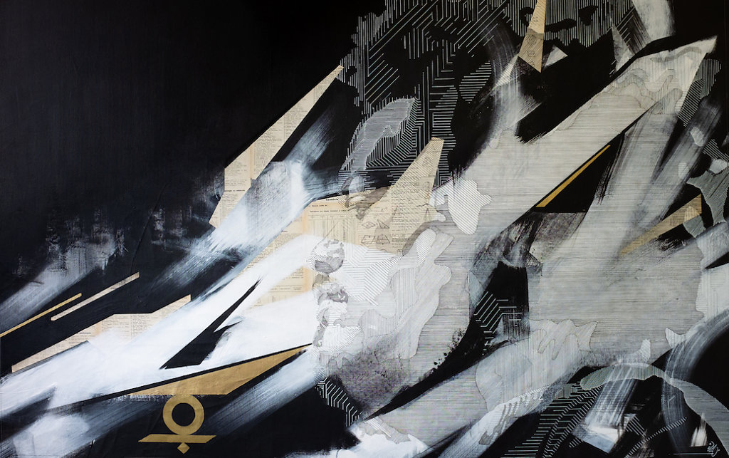 S.A.T.O.R.I 2-Collage, ink and acrylic on canvas-87x137cm-